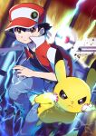 1boy absurdres bangs baseball_cap black_hair black_shirt blurry brown_eyes closed_mouth commentary_request electricity gen_1_pokemon grey_pants hair_between_eyes hat highres jacket looking_at_viewer male_focus open_clothes open_jacket pants pikachu poke_ball pokemon pokemon_(creature) pokemon_(game) pokemon_rgby pon_yui red_(pokemon) red_headwear red_jacket shirt short_hair