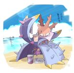 :> black_eyes closed_mouth clouds commentary_request corsola cup day disposable_cup drinking drinking_straw gen_2_pokemon gen_7_pokemon nigiri_(ngr24) no_humans outdoors paper pokemon pokemon_(creature) sand shore sky toxapex translation_request water