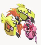 blue_eyes commentary_request gen_7_pokemon legendary_pokemon looking_down looking_up nigiri_(ngr24) no_humans pink_hair plume pokemon pokemon_(creature) signature simple_background tapu_koko tapu_lele white_background