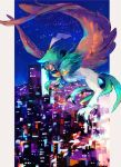 beak bright_pupils cityscape colored_sclera commentary_request decidueye flying gen_7_pokemon ngr_(nnn204204) night no_humans orange_sclera outdoors pillarboxed pokemon pokemon_(creature) red_eyes sky star_(sky) talons