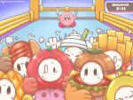 artist_name banana blue_eyes blush_stickers burger crossover fall_guys finish_line fleeing food food-themed_clothes fork french_fries fruit hot_dog kirby kirby_(series) knife milkshake pineapple scared sweat tomato user_nnnm4577