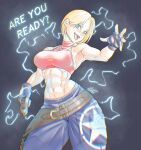 2021 ? abs absurdres armpits artist_name bare_shoulders blonde_hair blue_eyes blue_mary blurry breasts cowboy_shot dated electricity english_commentary english_text fatal_fury fingerless_gloves gage_199x gloves hair_behind_ear hair_between_eyes highres holding jewelry looking_at_viewer medium_breasts midriff muscular muscular_female navel necklace open_mouth pants short_hair sleeveless standing taser teeth the_king_of_fighters tongue watermark