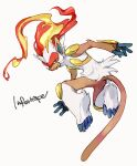 blue_eyes character_name colored_sclera commentary_request fiery_hair fire furry gen_4_pokemon highres infernape looking_back ngr_(nnn204204) pokemon pokemon_(creature) simple_background toes white_background white_fur yellow_sclera
