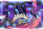 alternate_color blue_eyes blurry commentary_request distortion_world gen_4_pokemon giratina giratina_(origin) glowing glowing_eyes highres legendary_pokemon ngr_(nnn204204) no_humans pokemon pokemon_(creature) rock shiny_pokemon solo spikes water waterfall