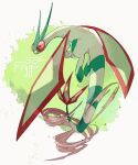 character_name claws commentary_request flygon flying full_body gen_3_pokemon looking_back ngr_(nnn204204) no_humans pokedex_number pokemon pokemon_(creature) smoke solo white_background