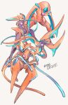black_eyes character_name commentary_request deoxys deoxys_(attack) deoxys_(defense) deoxys_(normal) deoxys_(speed) gen_3_pokemon glowing grey_background highres looking_at_viewer mythical_pokemon ngr_(nnn204204) no_humans pokedex_number pokemon pokemon_(creature) simple_background