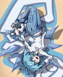 (9) :d absurdres alternate_costume bangs blue_bow blue_eyes blue_hair blue_pants bow cirno cirno_day english_commentary full_body graffiti hair_bow highres ice ice_wings jacket jet_set_radio long_sleeves looking_at_viewer open_mouth pants pocket polka_dot polka_dot_background roller_skates shaft_(shaf_it) short_hair skates smile touhou upside-down white_jacket wings