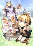 2boys 2girls ahoge apron blonde_hair blush_stickers boots breasts butler butterfly_wings cake chibi cup eating fairy_knight_gawain_(fate) fate/grand_order fate_(series) food gareth_(fate) green_eyes heterochromia highres large_breasts long_hair maid maid_apron multiple_boys multiple_girls nekomata_naomi oberon_(fate) parfait percival_(fate) sandwich sparkling_eyes sweets table teacup tray wings