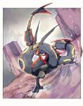 alternate_color black_sclera border claws colored_sclera commentary_request gen_3_pokemon highres legendary_pokemon looking_to_the_side ngr_(nnn204204) no_humans open_mouth pillar pokemon pokemon_(creature) rayquaza shiny_pokemon tongue white_border yellow_eyes