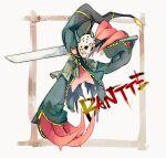 banette character_name commentary_request full_body gen_3_pokemon hockey_mask holding holding_weapon mask ngr_(nnn204204) no_humans pokemon pokemon_(creature) weapon zipper zipper_pull_tab