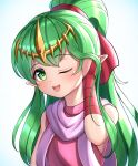 1girl absurdres adjusting_hair bangs bare_shoulders blue_background blush bridal_gauntlets child commentary_request dress eyebrows_visible_through_hair fire_emblem fire_emblem:_mystery_of_the_emblem flat_chest gem gloves gradient gradient_background green_eyes green_hair hair_ribbon hand_up happy highres hondaranya long_hair looking_at_viewer one_eye_closed open_mouth pink_dress pointy_ears ponytail purple_scarf red_gloves red_ribbon ribbon ruby_(gemstone) scarf shiny shiny_hair sidelocks simple_background single_bridal_gauntlet single_glove sleeveless sleeveless_dress smile solo teeth tiara tied_hair tiki_(fire_emblem) upper_body yellow_headwear