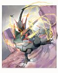 alternate_color black_sclera claws colored_sclera commentary_request fang gen_3_pokemon glowing highres legendary_pokemon looking_to_the_side mega_pokemon mega_rayquaza ngr_(nnn204204) no_humans open_mouth orange_eyes pillar pokemon pokemon_(creature) rayquaza shiny_pokemon