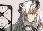 1girl absurdres arknights artist_name bangs closed_mouth commentary_request dragon_horns frown grey_background highres horns long_hair looking_at_viewer orange_eyes pikazimi saria_(arknights) shield shirt simple_background solo upper_body white_hair white_shirt
