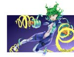 1girl alternate_costume alternate_hairstyle artist_name bangs bodysuit boku_no_hero_academia breasts cosplay curly_hair drill_hair energy_beam fighting_stance flipped_hair floating gloves gradient gradient_background green_eyes hadou_nejire hadou_nejire_(cosplay) hair_horns highres holster levitation one-punch_man open_mouth orange_gloves outstretched_arms purple_background sereneandsilent short_hair simple_background skin_tight small_breasts solo superhero tatsumaki teeth thigh_holster thigh_strap white_background white_gloves