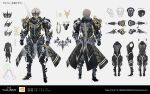 1boy alphen_(tales) alternate_costume armor arms_at_sides breastplate character_sheet commentary_request from_behind full_body gauntlets grey_background grey_hair highres multiple_views official_alternate_costume official_art plate_armor shoulder_armor standing swav tales_of_(series) tales_of_arise translation_request visor_(armor) waist_cape