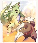 black_eyes border claws commentary_request excadrill fangs gen_2_pokemon gen_3_pokemon gen_5_pokemon head_back highres ngr_(nnn204204) no_humans open_mouth pokemon pokemon_(creature) salamence sand standing tongue tyranitar white_border
