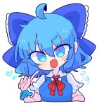 1girl blue_dress blue_eyes blue_hair bow cirno dress fairy_wings hair_bow highres ice ice_wings op_na_yarou open_mouth pointing pointing_at_self puffy_short_sleeves puffy_sleeves red_neckwear shirt short_hair short_sleeves simple_background touhou white_background white_shirt wings
