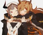 2girls animal_ears arknights arm_around_neck bangs blush brown_hair ceobe_(arknights) closed_eyes closed_mouth dog_ears dog_girl fang fang_out happy highres horns hug jacket keeta long_hair multiple_girls one_eye_closed open_mouth oripathy_lesion_(arknights) red_eyes short_hair single_horn skin_fang vulcan_(arknights)