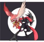 alternate_color beak bird bright_pupils commentary_request furry gen_6_pokemon greninja hand_up legs_apart letterboxed looking_down nigiri_(ngr24) outstretched_arm pokemon pokemon_(creature) red_eyes shiny_pokemon spread_fingers standing talonflame talons white_pupils