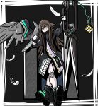 1girl arknights bangs boots brown_hair dagger dosei_no_kozika feather_hair feathers heart heart-shaped_pupils highres holding holding_dagger holding_weapon infection_monitor_(arknights) kafka_(arknights) knife licking_lips long_hair long_sleeves scissors solo symbol-shaped_pupils tongue tongue_out weapon yellow_eyes