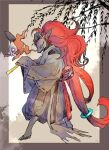 closed_mouth clothed_pokemon commentary_request duskull floating furry gen_3_pokemon gen_5_pokemon green_eyes half-closed_eyes highres long_hair ngr_(nnn204204) orange_hair pokemon pokemon_(creature) sleeves_past_fingers sleeves_past_wrists smile standing tied_hair very_long_hair zoroark