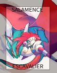 armor black_eyes border character_name claws commentary_request escavalier gen_3_pokemon gen_5_pokemon lance looking_at_viewer ngr_(nnn204204) no_humans plume pokemon pokemon_(creature) polearm salamence weapon