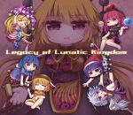 >_< 6+girls =_= american_flag_dress american_flag_legwear animal_ears beige_jacket black_shirt blonde_hair blue_dress blue_eyes blue_hair breasts cabbie_hat chain chinese_clothes closed_eyes clothes_writing clownpiece dark_blue_hair doremy_sweet dress earth_(ornament) eyebrows_visible_through_hair gold_chain hair_between_eyes hand_to_own_mouth hat highres holding holding_torch jester_cap junko_(touhou) kishin_sagume large_breasts legacy_of_lunatic_kingdom mallet moon_(ornament) multicolored multicolored_clothes multicolored_skirt multiple_girls one_eye_closed pantyhose polka_dot polos_crown pom_pom_(clothes) rabbit_ears red_eyes redhead ringo_(touhou) santa_hat seiran_(touhou) shirt silver_hair single_wing skirt slit_pupils tabard tail tapir_tail torch touhou unime_seaflower wings