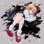 1girl bangs black_skirt black_vest commentary_request darkness eyebrows_visible_through_hair full_body grey_background hair_ribbon long_sleeves looking_at_viewer lying mary_janes on_side red_eyes red_footwear red_ribbon ribbon rumia shirt shoes short_hair skirt sleeves_past_wrists socks solo star_(symbol) touhou vest warabe_(be-san) white_legwear white_shirt