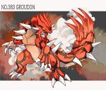 character_name claws commentary_request gen_3_pokemon glowing glowing_eyes groudon legendary_pokemon legs_apart looking_to_the_side ngr_(nnn204204) no_humans open_mouth pokedex_number pokemon pokemon_(creature) sharp_teeth smoke spikes standing teeth tongue yellow_eyes