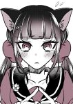 1girl absurdres animal_ears bangs blush bow cat_ears collarbone commentary_request danganronpa_(series) danganronpa_v3:_killing_harmony eyebrows_visible_through_hair fingers_together flying_sweatdrops frown hair_bow hair_ornament hair_scrunchie harukawa_maki highres index_finger_raised long_hair looking_at_viewer mole mole_under_eye monochrome portrait sailor_collar satori_(blueinc324) scrunchie simple_background solo twintails white_background