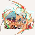 charizard claws commentary_request dj fangs fire flame gen_1_pokemon headphones jewelry necklace ngr_(nnn204204) no_humans open_mouth poke_ball_print pokemon pokemon_(creature) tongue