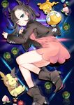 1girl absurdres ankle_boots asymmetrical_bangs bangs berry_(pokemon) blue_eyes boots brown_footwear brown_jacket closed_mouth commentary_request dress dusk_ball eyelashes gen_5_pokemon gen_8_pokemon hair_ribbon highres jacket long_sleeves looking_at_viewer lying marnie_(pokemon) morpeko morpeko_(full) on_side one_eye_closed open_clothes open_jacket pink_dress poke_ball pokemon pokemon_(creature) pokemon_(game) pokemon_swsh red_ribbon reflection ribbon scraggy you_chi27