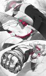 1girl absurdres action bandaged_hands bandages bandeau breasts closed_mouth foreshortening goggles goggles_on_head highres incoming_punch medium_breasts medium_hair navel niwamaru_(niwarhythm) niwarhythm original shorts smile solo stomach thigh-highs