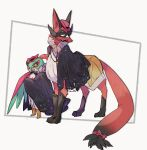 black_cape boots brown_footwear cape chain clothed_pokemon commentary_request gen_6_pokemon gen_8_pokemon glint hat hatted_pokemon hawlucha highres looking_back mask ngr_(nnn204204) no_humans pink_headwear pokemon pokemon_(creature) standing thievul