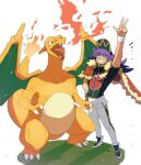 1boy arm_up baseball_cap cape champion_uniform charizard claws closed_eyes dark-skinned_male dark_skin dynamax_band facial_hair fangs fire flame fur-trimmed_cape fur_trim gen_1_pokemon gloves grass green_eyes grin hand_on_hip hat highres leggings leon_(pokemon) long_hair male_focus morio_(poke_orio) open_mouth pokemon pokemon_(creature) pokemon_(game) pokemon_swsh purple_hair red_cape shield_print shirt shoes short_shorts short_sleeves shorts single_glove smile standing sword_print symbol-only_commentary teeth tongue w white_background white_legwear white_shorts white_wristband wristband