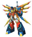 absurdres blue_eyes clenched_hands commentary_request highres ishiyumi mecha mechanical_wings no_humans original science_fiction shoulder_cannon standing super_robot white_background wings