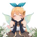 1girl bare_shoulders black_gloves blonde_hair blue_bow blush bow bow_hairband closed_eyes closed_mouth commentary detached_sleeves elbow_gloves english_commentary facing_viewer fairy fairy_wings flower gloves hair_bow hair_flower hair_ornament hairband hairclip highres long_hair nao_(iem_low) nijisanji nijisanji_en pointy_ears pomu_rainpuff pov_across_table puffy_detached_sleeves puffy_short_sleeves puffy_sleeves short_sleeves simple_background smile solo table upper_body white_background white_flower wings
