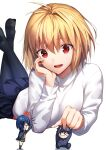 1boy 2girls ahoge anger_vein angry arcueid_brunestud bangs black_hair black_legwear blonde_hair blue_hair blue_jacket blue_pants blue_skirt buttons chibi ciel_(tsukihime) closed_mouth commentary_request crossed_legs eyebrows_visible_through_hair fingernails glasses grey_skirt hair_between_eyes hair_intakes hand_on_another's_head hand_on_own_chin herigaru_(fvgyvr000) highres jacket long_sleeves lying miniboy minigirl miniskirt multiple_girls nail_polish open_clothes open_jacket open_mouth pants pantyhose pink_nails pleated_skirt red_eyes school_uniform short_hair sidelocks simple_background sitting size_difference skirt smile sweater tohno_shiki tsukihime tsukihime_(remake) turtleneck turtleneck_sweater uniform upper_teeth vampire vest white_background white_sweater yellow_vest