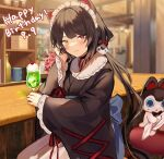 1girl absurdres animal_ears apron bangs black_collar black_hair blush cherry collar counter cup dated dog dog_ears drink drinking_glass fangs flower food frills fruit furisode hair_ornament hand_on_own_face happy_birthday heterochromia highres ice_cream ice_cream_float indoors inui_toko japanese_clothes kimono long_hair long_sleeves looking_at_viewer maid_apron maid_headdress nijisanji obi plant red_eyes sash sitting sleeves_past_wrists smile solo virtual_youtuber wide_sleeves y_o_u_k_a yellow_eyes