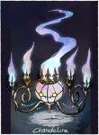 beads border chandelure character_name commentary_request fire full_body gen_5_pokemon highres ngr_(nnn204204) no_humans pokemon pokemon_(creature) purple_fire white_border yellow_eyes