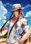 1boy artist_name birthday black_eyes black_hair blue_sky bracelet dated day facial_hair foxvulpine golden_kamuy hand_in_pocket hat hawaiian_shirt jewelry long_hair male_focus oosawa_fusatarou outdoors parted_lips shirt sky smile solo standing upper_body very_long_hair white_shirt