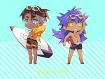 2boys akeno06 alternate_costume arm_up ball bangs beachball blush blush_stickers brown_hair commentary_request dark-skinned_male dark_skin earrings eyewear_on_head facial_hair fang grin hand_in_pocket highres holding holding_ball holding_surfboard jacket jewelry knees leon_(pokemon) long_hair looking_at_viewer male_focus male_swimwear multiple_boys necklace open_clothes open_jacket open_mouth pokemon pokemon_(game) pokemon_swsh purple_hair raihan_(pokemon) shirtless short_hair smile standing star_(symbol) summer sunglasses surfboard swim_trunks teeth undercut yellow_eyes yellow_jacket