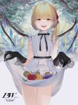 1girl :d alternate_costume apple bad_anatomy bangs bare_shoulders black_gloves black_neckwear black_ribbon blonde_hair character_name cover cowboy_shot crystal day dress eyebrows_visible_through_hair flandre_scarlet food fruit gloves grapes hair_ribbon halftone highres hillly_(maiwetea) holding holding_clothes holding_skirt lifted_by_self looking_at_viewer no_hat no_headwear one_side_up open_mouth outdoors red_eyes red_ribbon ribbon short_hair skirt skirt_basket sleeveless sleeveless_dress smile solo thigh_gap thighs touhou tree white_dress wings