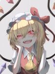 1girl :d ascot bangs blush bow commentary_request crystal eyebrows_behind_hair fangs flandre_scarlet glowing glowing_eyes grey_background hair_behind_ear hair_between_eyes hand_on_own_cheek hand_on_own_face hand_up hat hat_bow head_tilt highres looking_at_viewer mob_cap one_side_up open_mouth red_bow red_eyes red_vest short_hair short_sleeves simple_background smile solo touhou tsune_(tune) uneven_eyes upper_body upper_teeth vest white_headwear wing_collar wings yellow_neckwear
