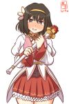 1girl artist_logo black_hair blush brown_eyes commentary_request cosplay cowboy_shot dated haguro_(kancolle) hair_ornament kanon_(kurogane_knights) kantai_collection looking_at_viewer nose_blush one-hour_drawing_challenge open_mouth princess_connect! red_skirt short_hair simple_background skirt solo standing taneda_risa tears voice_actor_connection wand white_background yui_(princess_connect!) yui_(princess_connect!)_(cosplay)