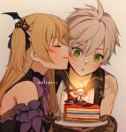 1boy 1girl antenna_hair artist_name bandaid bandaid_on_nose bangs bare_shoulders bat_wings bennett_(genshin_impact) birthday birthday_cake black_dress blonde_hair blush bow brown_gloves cake cake_slice candle closed_eyes closed_mouth collarbone cross-laced_clothes dress eyebrows_visible_through_hair fire fischl_(genshin_impact) flame food from_side genshin_impact gloves green_eyes grey_background hair_between_eyes hair_bow hair_ornament holding holding_plate kiss kissing_cheek long_hair looking_at_food looking_at_object open_collar open_mouth plate purple_scrunchie scar scrunchie side_ponytail sidelocks solreiru wing_hair_ornament wings