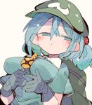 1girl backpack bag beige_background black_gloves blue_eyes blue_hair blue_shirt breasts cabbie_hat dutch_angle gloves green_bag green_headwear hair_between_eyes hair_bobbles hair_ornament hat impossible_clothes impossible_shirt kawashiro_nitori key large_breasts massakasama medium_hair shirt short_sleeves simple_background solo touhou two_side_up upper_body