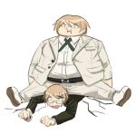 2boys :i bangs belt black_belt boy_on_top brown_jacket clenched_hands closed_mouth collared_shirt danganronpa:_trigger_happy_havoc danganronpa_(series) danganronpa_2:_goodbye_despair fat fat_man glasses jacket multiple_boys on_person open_mouth pants qosic shirt shirt_tucked_in shoes simple_background sitting smile spread_legs togami_byakuya togami_byakuya_(danganronpa_2) white_background white_footwear white_jacket white_pants white_shirt