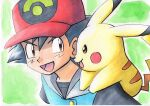 1boy :d ash_ketchum bangs baseball_cap black_hair black_shirt brown_eyes buttons commentary_request hair_between_eyes hat highres male_focus oka_mochi on_shoulder open_mouth pikachu pokemon pokemon_(anime) pokemon_(creature) pokemon_on_shoulder pokemon_rse_(anime) red_headwear shirt short_hair smile spiky_hair tongue traditional_media upper_body
