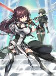 2girls armor black_gloves braid brown_eyes brown_hair capelet closed_mouth clothing_cutout column cover cover_page dai-xt feet_out_of_frame gloves green_eyes green_gloves green_hair green_legwear grey_legwear grey_skirt highres holding holding_weapon kuro_no_shoukanshi long_hair looking_at_viewer multiple_girls pillar short_hair short_shorts shorts shoulder_cutout skirt sky smile stairs standing sun sword thigh-highs weapon